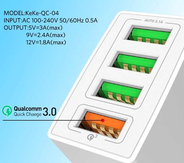 White Qualcomm 4 Pin Fast Charging Adapter