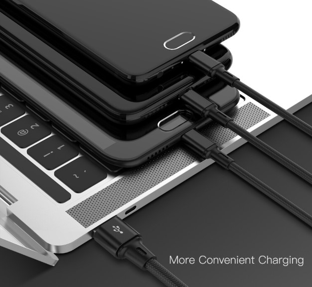 Black Nylon Threaded 3 in 1 Fast Charging USB Cable