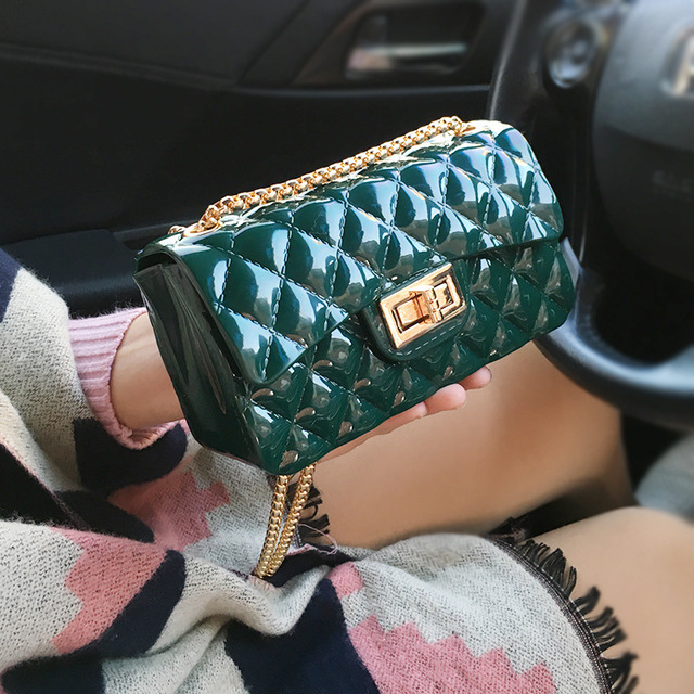 SJstudio Jelly Diamond Classic Design Square Shape Handbag For Women