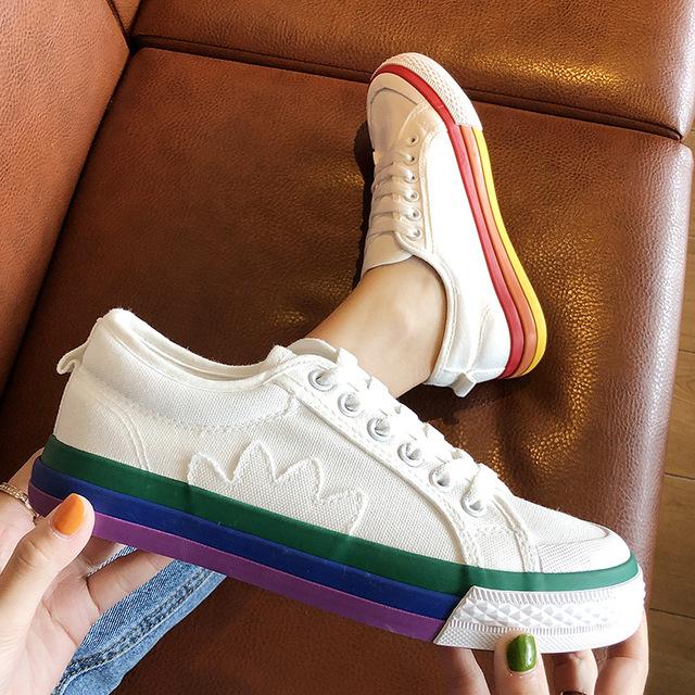 SJstuido  Rainbow Sole Stylish Comfortable Canvas Shoes For Women