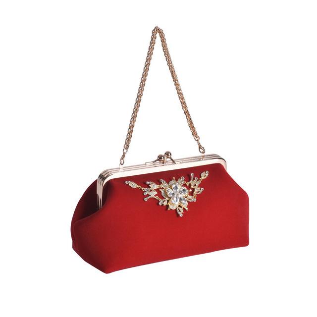 SJstudio Velvet Diamond Design Wedding Dressy Handbag For Women
