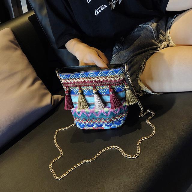 SJstudio INS Hottest Sale National Tassel Design Canvas SlING Bags For Women