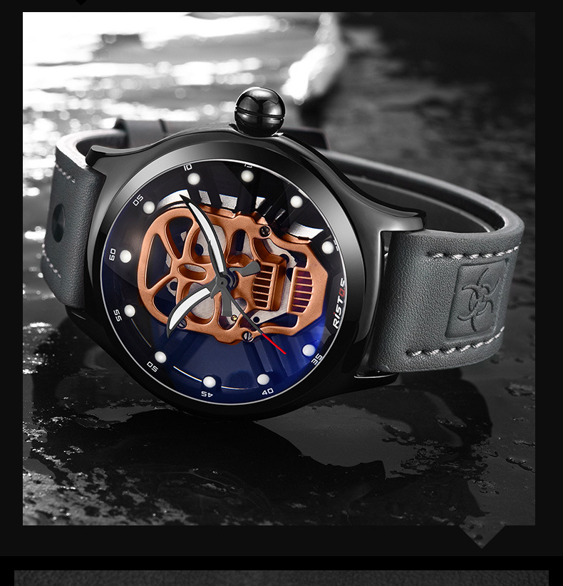 SJstudio Skull Design Real Leather Belt Casual Watch For Men