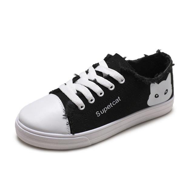 SJstuido Cat Cartoon Design Casual Comfortable Canvas Shoes For Women