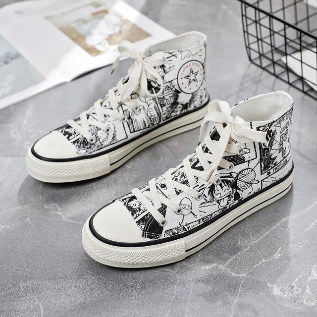 SJstudio Cartoon Hand Drawing Design High Cut Comfortable Canvas Shoes For Men