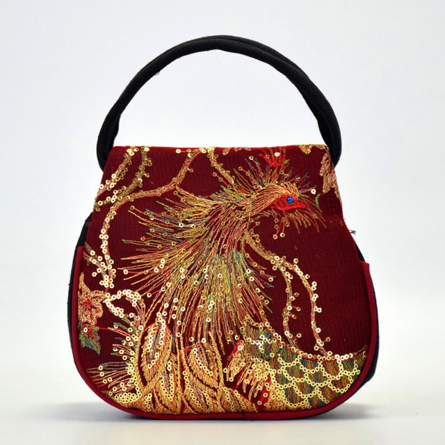 SJstudio Sequin Peacock Embroidery Design Handbag For Women