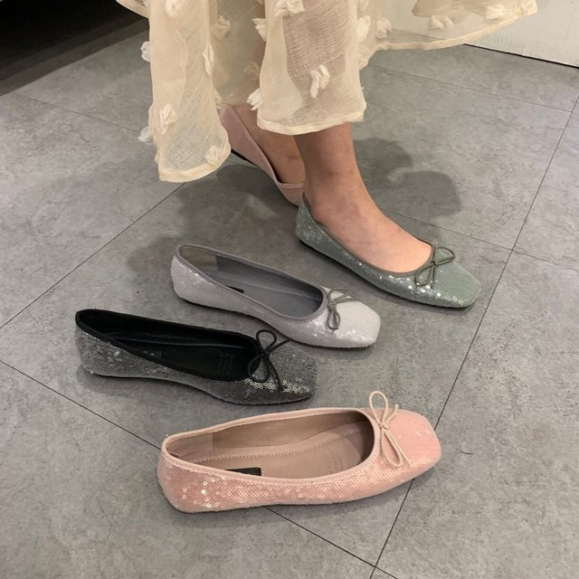 SJstudio Shinny Design Comfortable Flat Ballet Shoes For Women