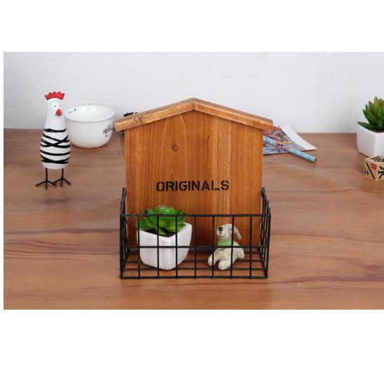 Retro Brown Wood Home Furnishing Storage Holder