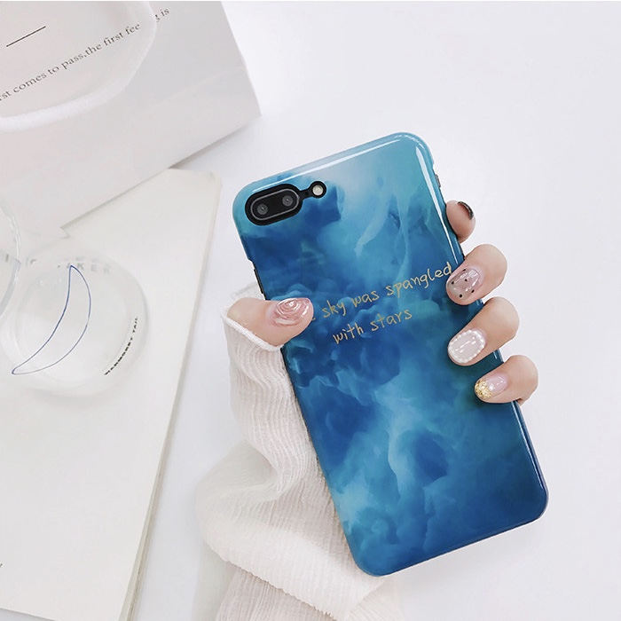 Blue Plastic Quote Printed iPhone 8 Back Cover