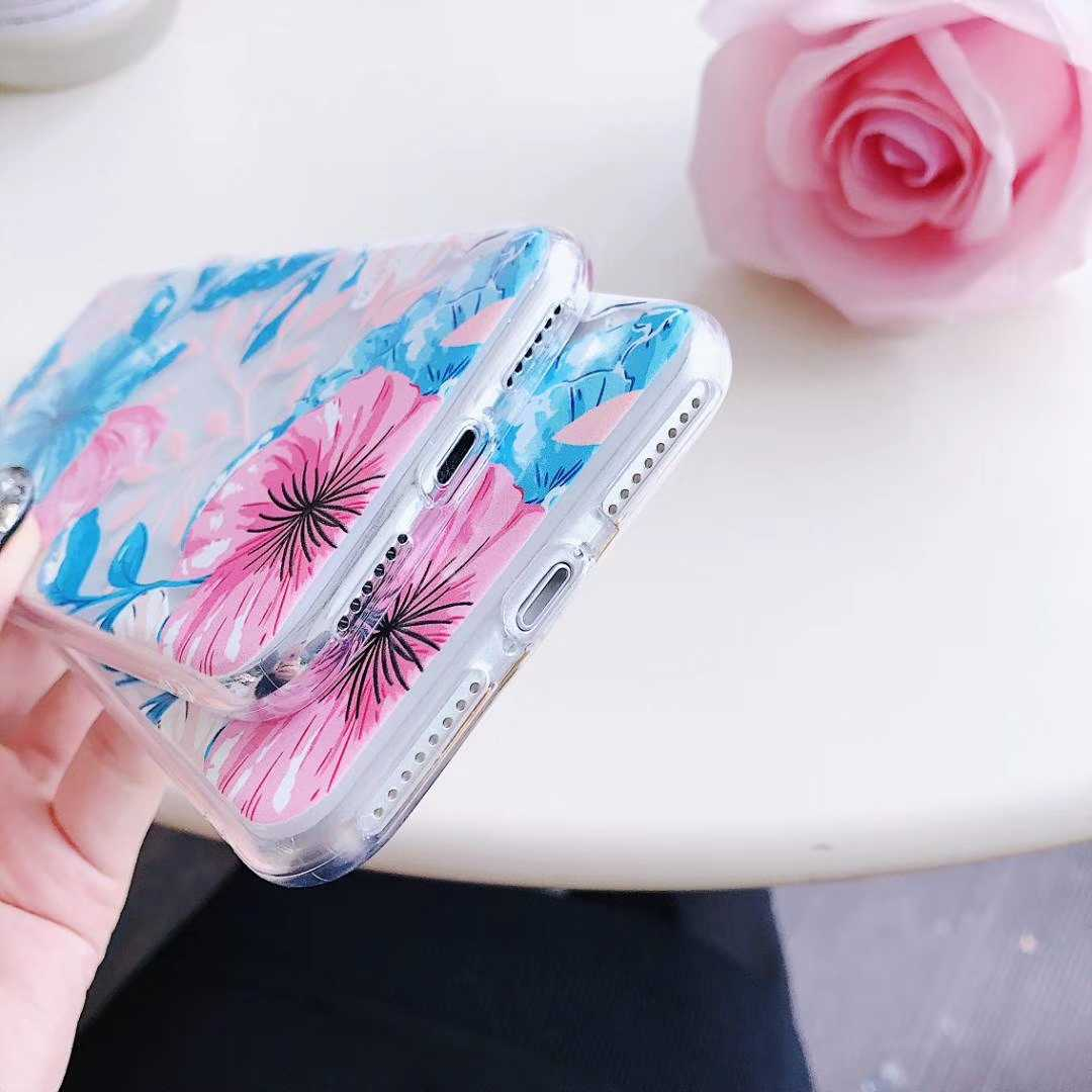 Transparent TPU Floral Printed iPhone X Back Cover