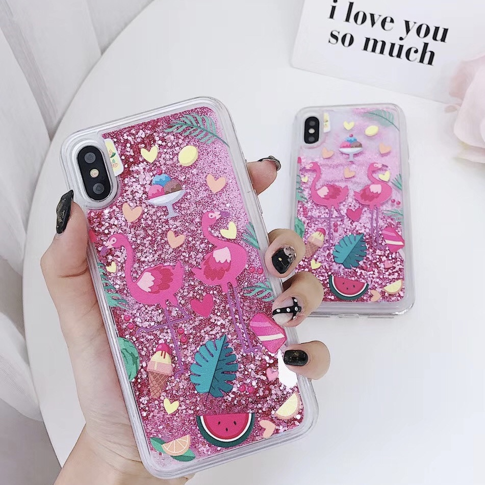 Pink Plastic Sequin Patterned Shining iPhone X Back Cover