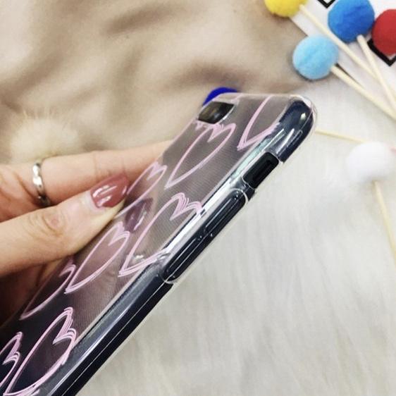 Transparent TPU Hearts Drawn Patternes iPhone 8 Plus Back Cover