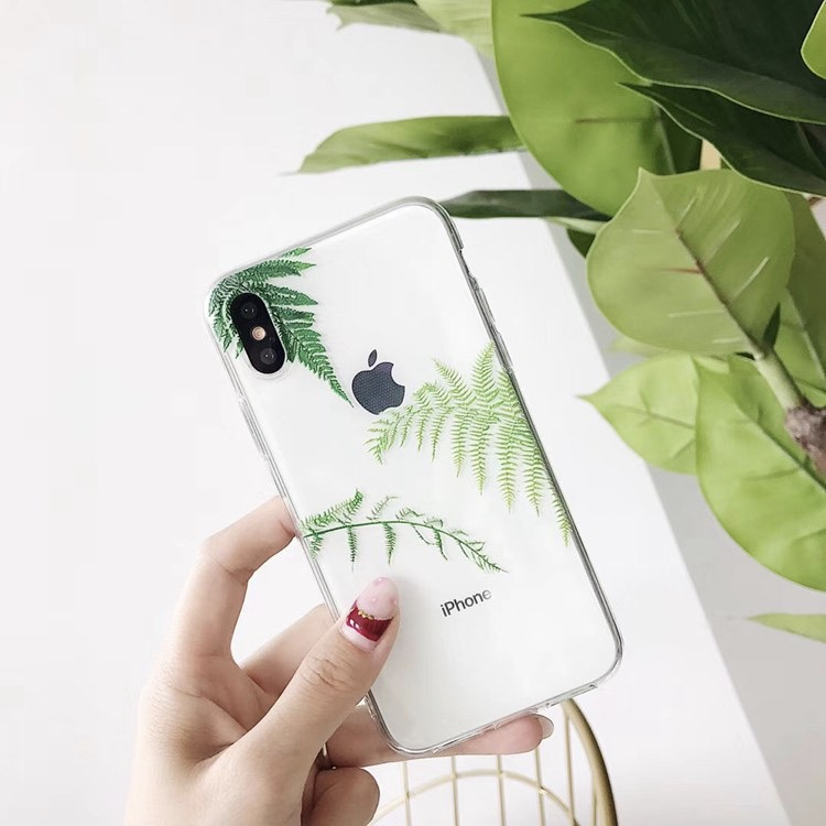Transparent TPU Pine Leaves Printed iPhone X Back Cover