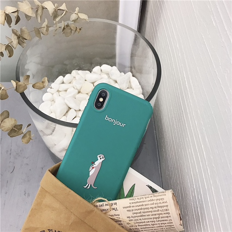 Green Plastic Cute Animal Printed iPhone X Back Cover