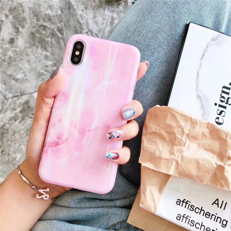 Plastic Marble Patterned Shinny iPhone X Back Cover