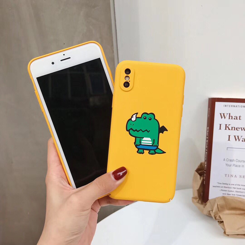 Yellow Plastic Cartoon Animal Printed iPhone X Back Cover