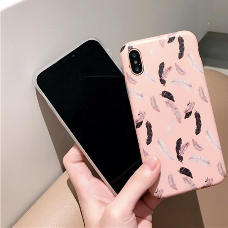 PInk Plastic Feathers Printed iPhone X Back Cover