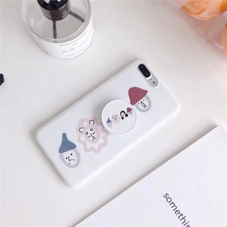 White Plastic Cartoon Printed Holder iPhone 8 Plus Back Cover