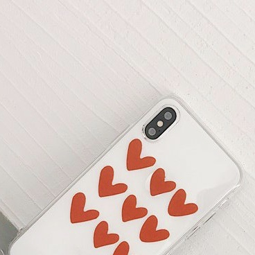 Transparent Plastic Hearts Printed iPhone X Back Cover