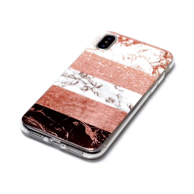 Brown Plastic Horizontal Lines Patterned iPhone X Back Cover