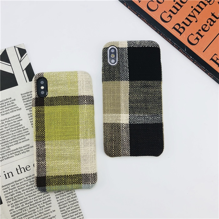 Plastic Plaid Patterned iPhone X Back Cover
