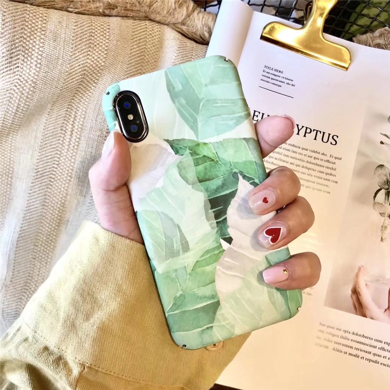 Green Plastic Leaves Printed iPhone X Back Cover