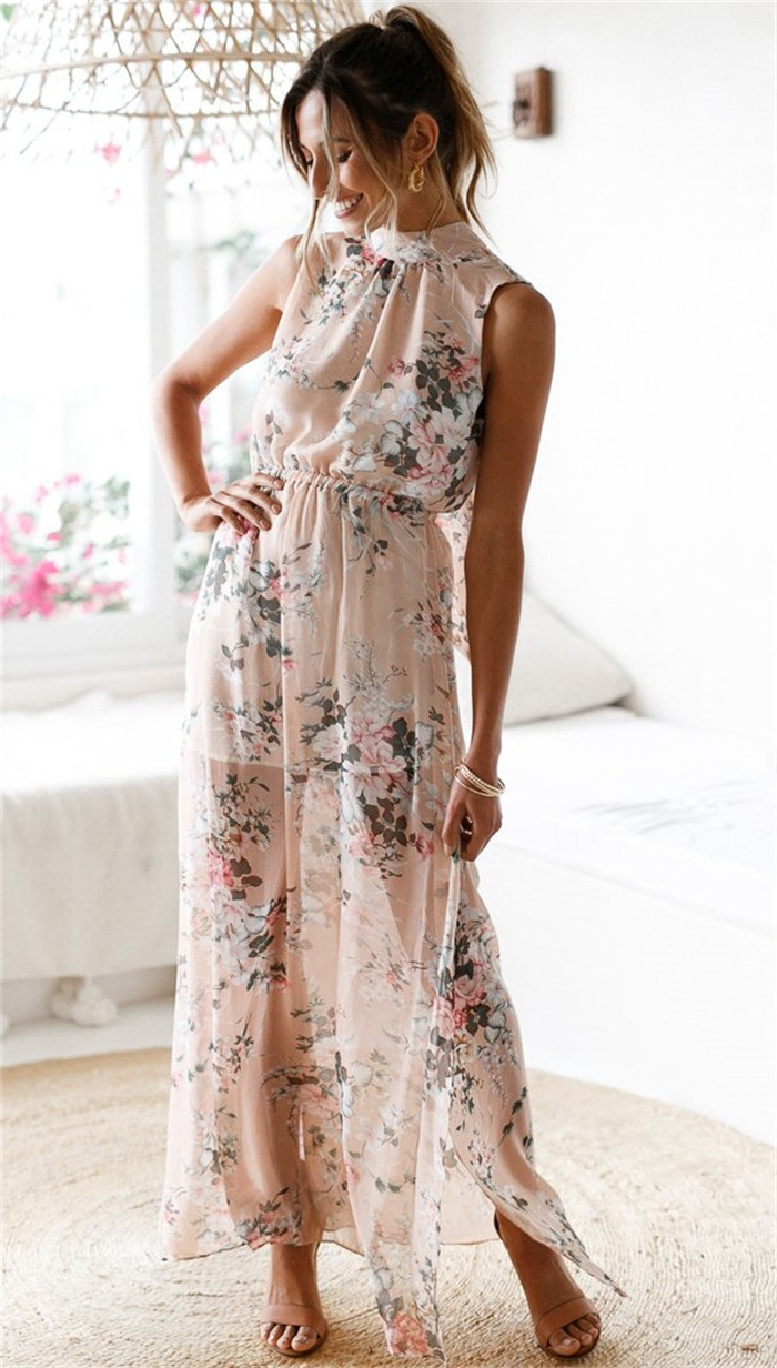 Beige Polyester Floral Print Turtle Neck Long Women Dress