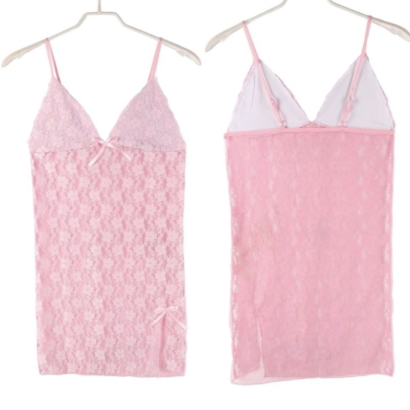 Silk Lace Patterned Short Night Gown For Women