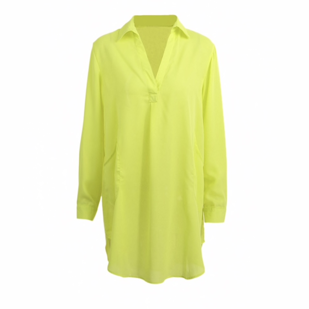 Green Chiffon Chinese Collar Loose Fit Long Women Top