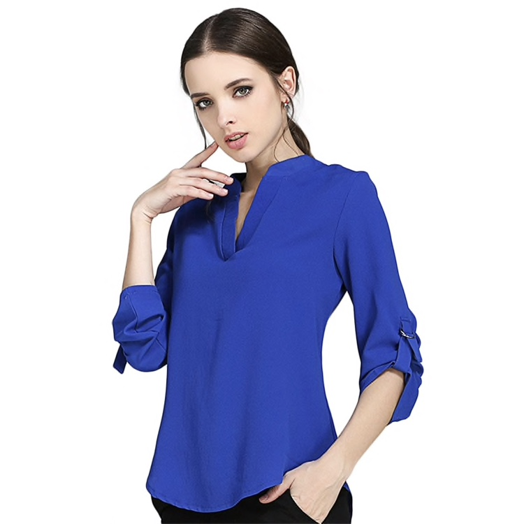Polyester Plain Three Forth Sleeves Women Top