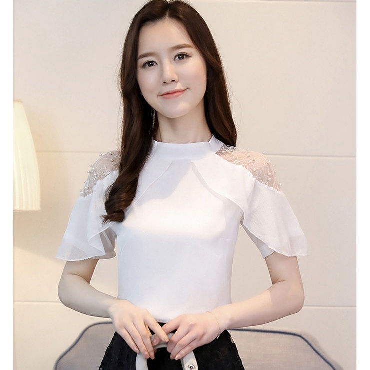 Chiffon Pearls Worked Shoulder Frilled Sleeves Women Top