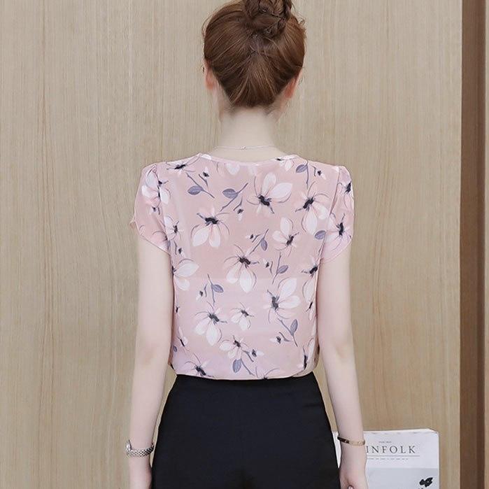 Peach Chiffon Butterflies Print Casual Women Top