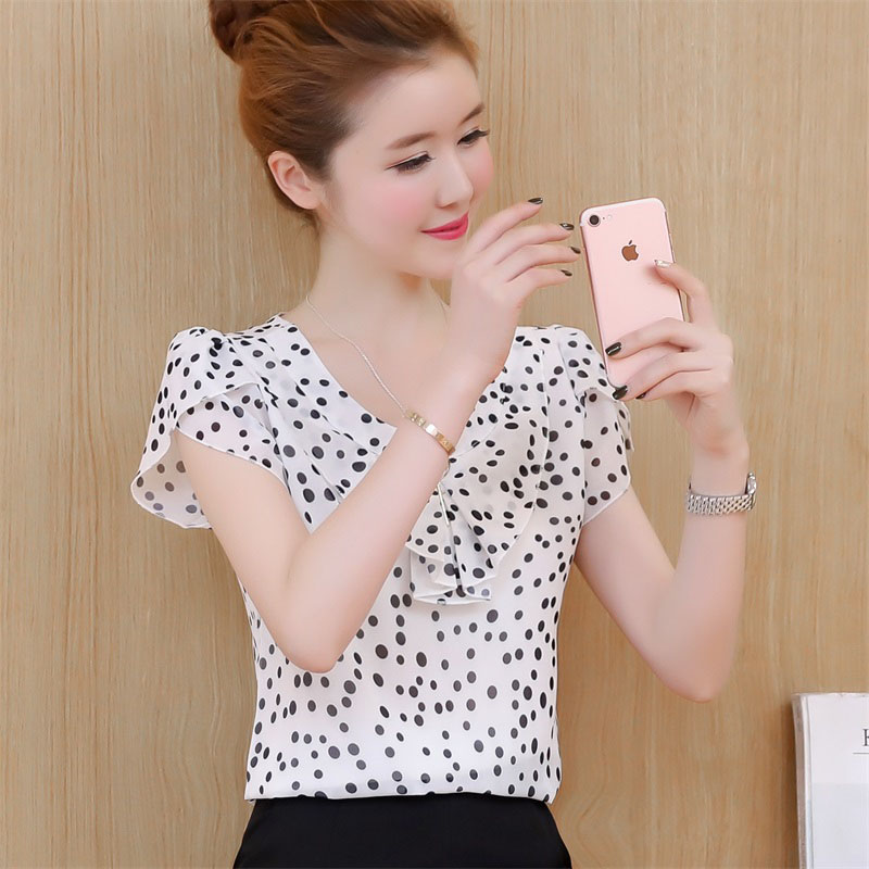 White Chiffon Polka Dots Print Frilled Sleeves Women Top