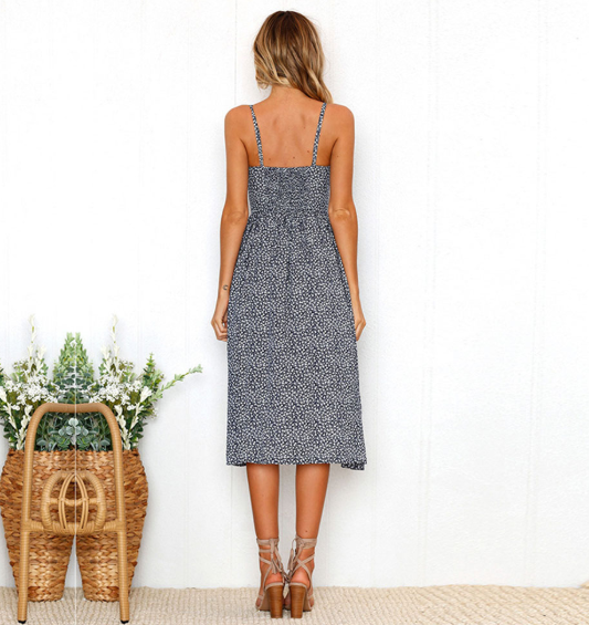 Blue Cotton Half Sleeve Dot Button Pattern Dress for Women