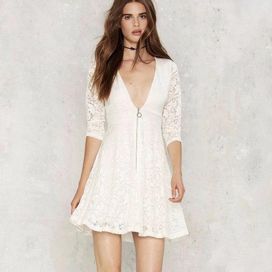 White Polyester Lace Work V Neck Short Women Dress