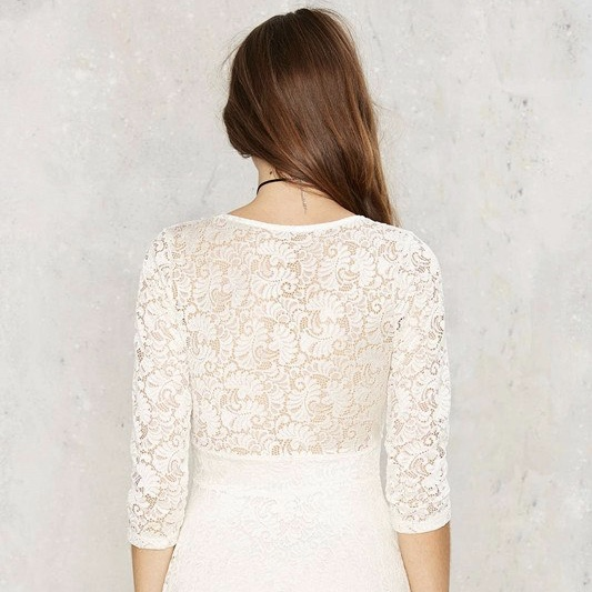 White Polyester Lace Work V Neck Short Women Dress