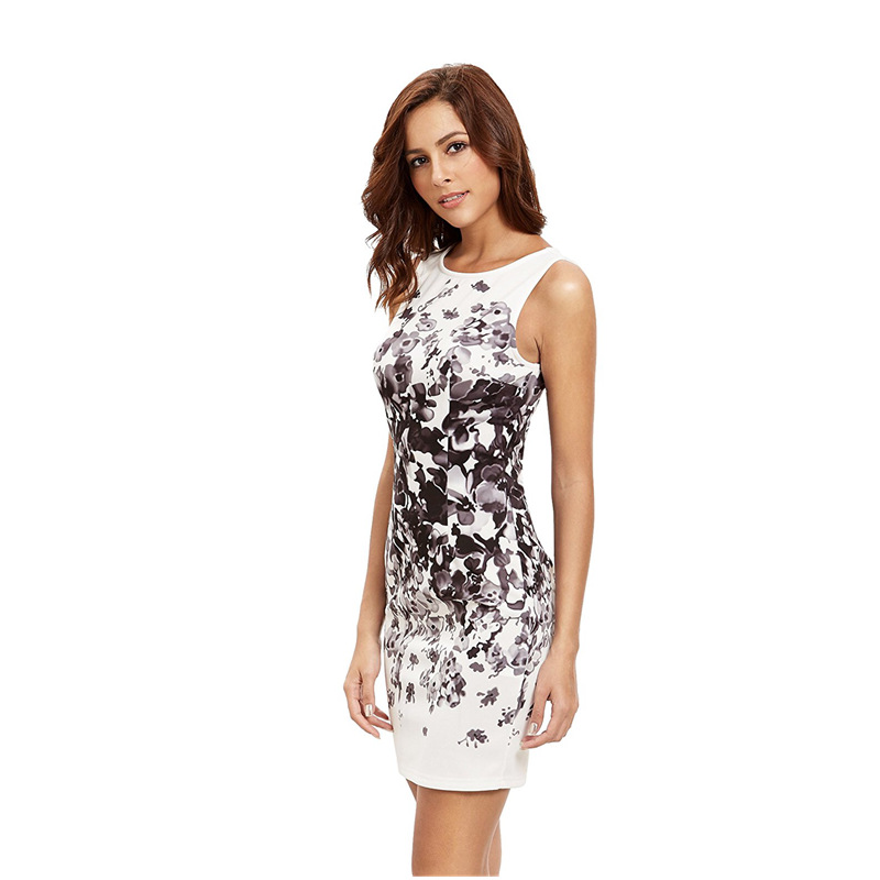 White Polyester Floral Print Slim Fit Short Women Dress