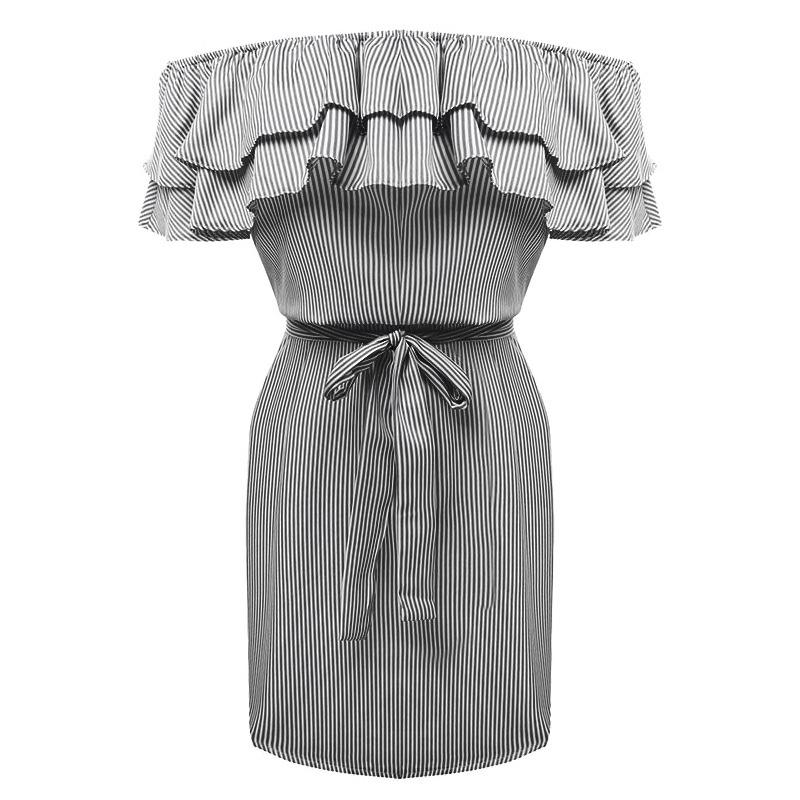 Cotton Stripes Print Off Shoulder Bow Waist Women Dress