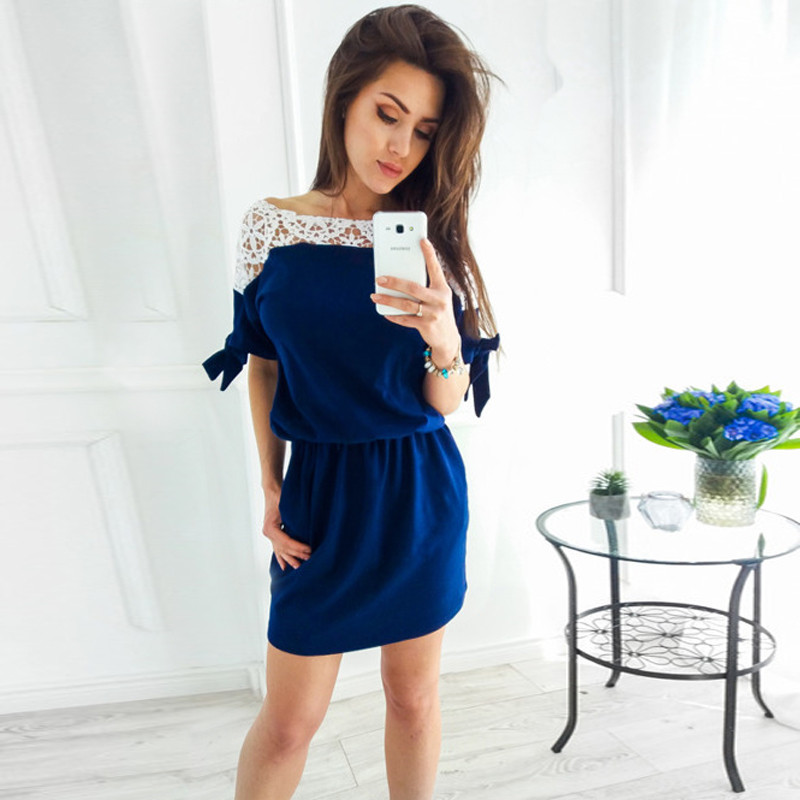 Polyester Floral Lace Work Boat Neck Short Women Dress
