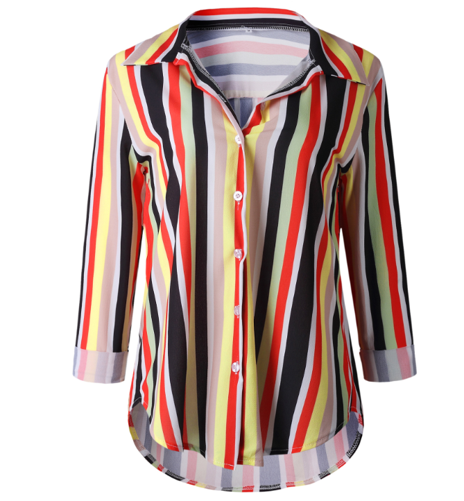 Multi Color Polyester Striped  Long Sleeve Casual Turn-Down Collar Top for Women