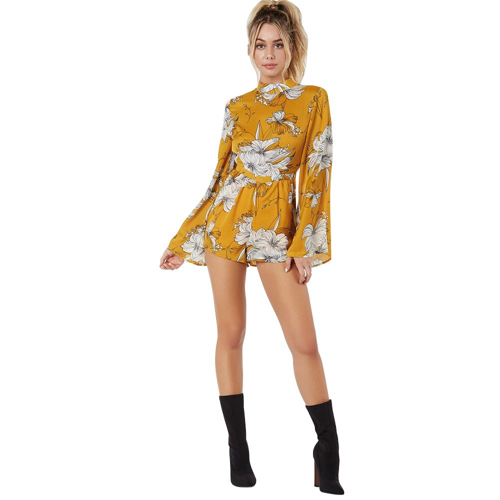 Yellow Polyester Floral Print Backless Romper Women Dress