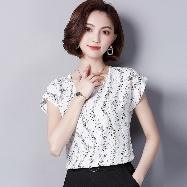 White Chiffon Sparkled Casual Women Top