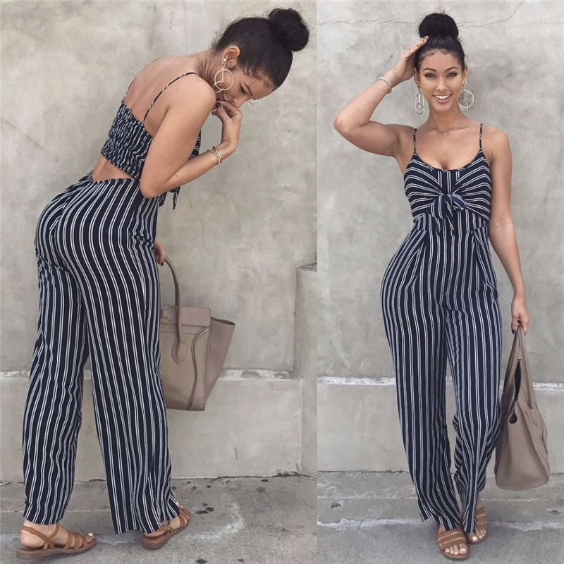 Black Polyester Stripes Print Stretchable Back Romper Women Dress