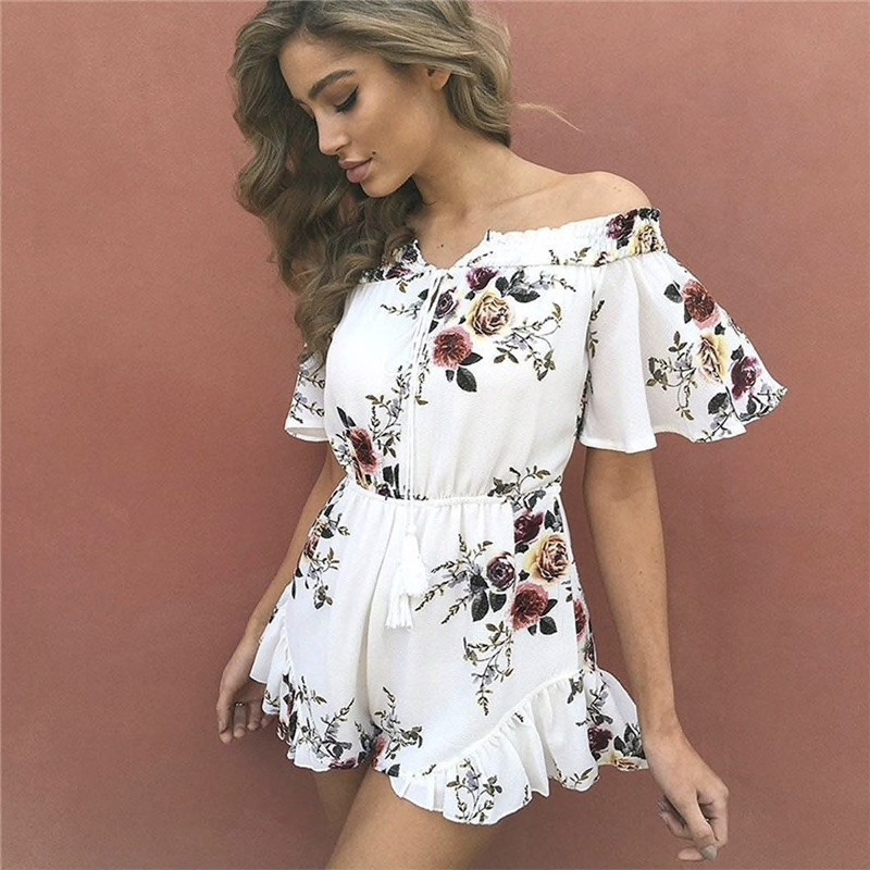 White Cotton Floral Print Short Romper Women Dress