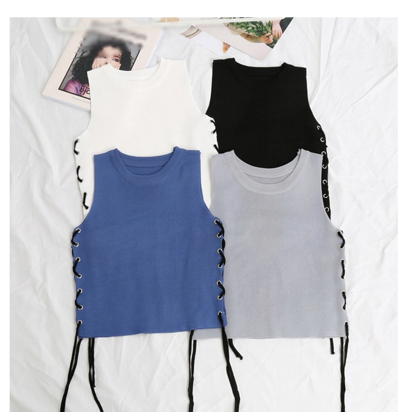 Polyester Criss Cross Side Crop Women Top