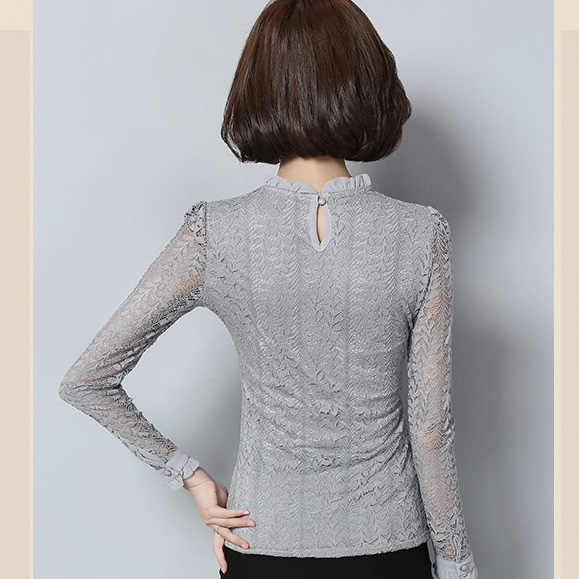 Grey Polyester Lace Patterned Casual Women Top