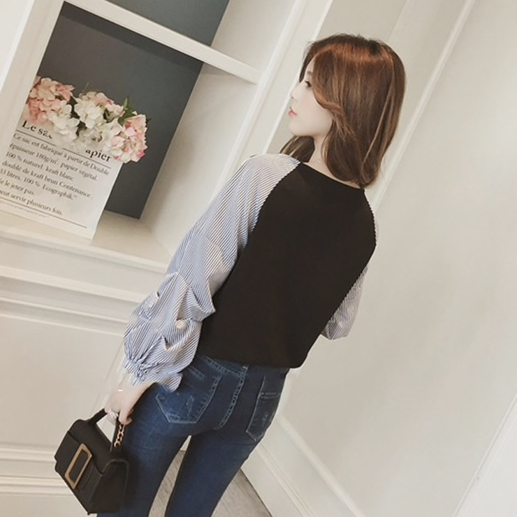 Polyester Stripped Lantern Sleeves Casual Women Top