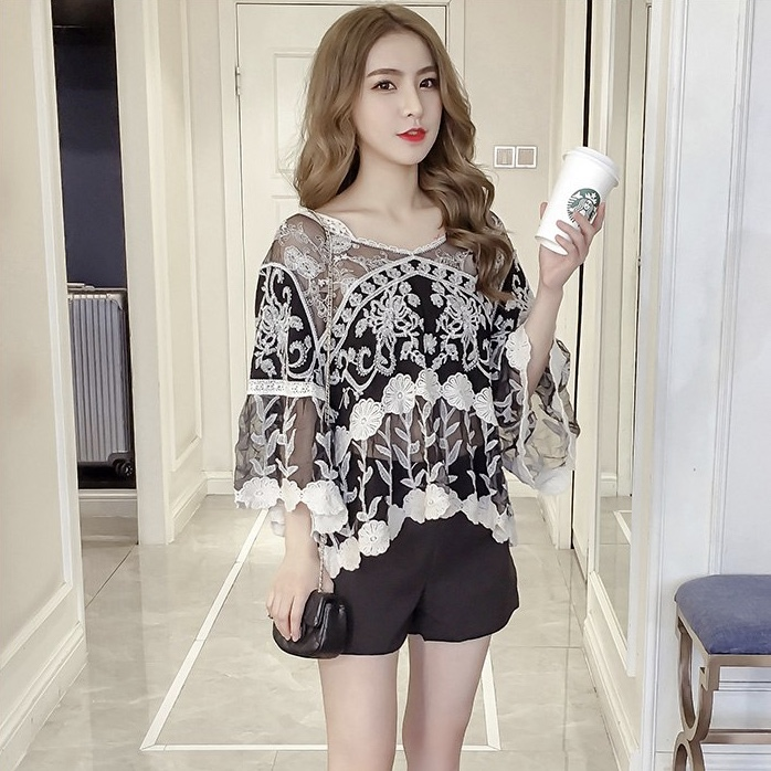 Polyester Floral Thread Work Curved End Beautiful Women Top