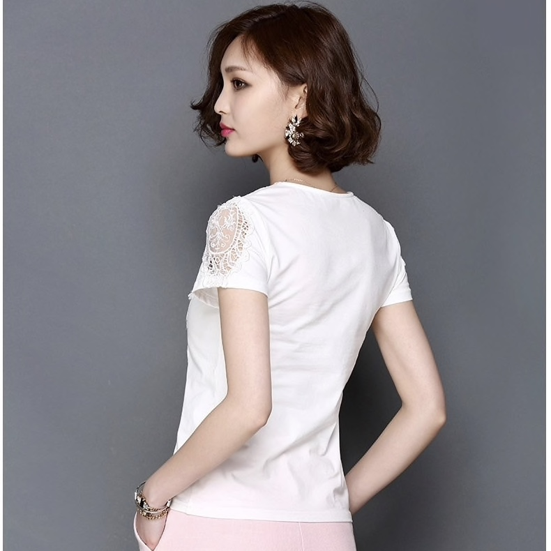 White Polyester Floral Lace Work Casual Women Top