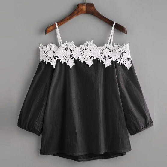 Polyester Off Shoulder Lace Splice Crop Top for Women